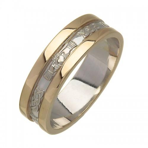 Irish Two Tone Wedding Ring - Corrib Claddagh - 18 Karat Irish Wedding Rings