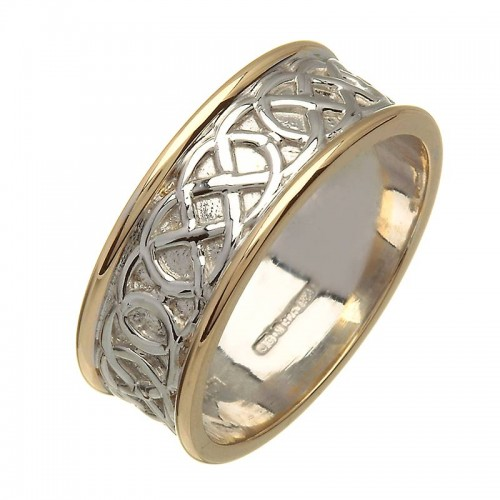 Irish Two Tone Wedding Ring - Celtic Knots - Silver and Gold - Wide Irish Wedding Rings